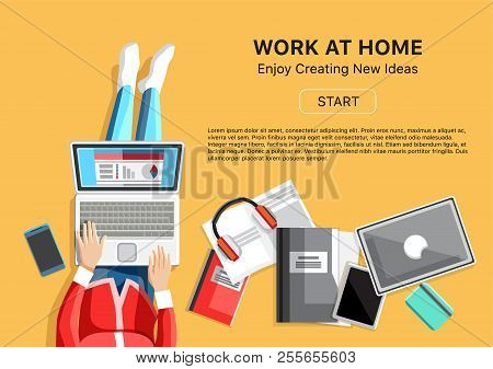 Work At Home Business Concept. Top View Girl With Phone, Headphones, Laptop And Business Reports. Se