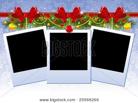 Three Christmas Photo Frame with red bow