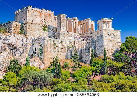 Athens, Greece - Ancient View Of Acropolis, Ancient Citadel Of Greek Civilization.