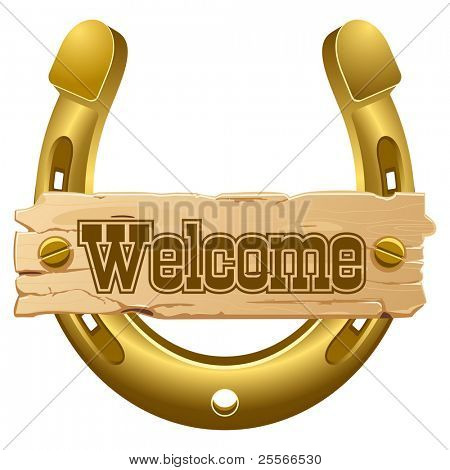 Horseshoe and wooden plate - welcome