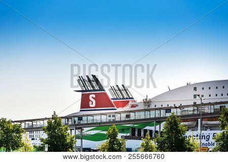 KIEL, GERMANY - JULY 26, 2018 : Street view of Cruise ship in the harbor of Kiel, Hamburg, Germany.