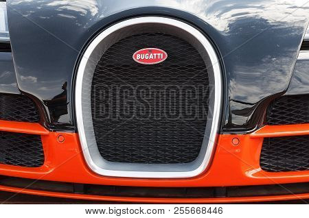 Italy - Porto Cervo - August 19, 2018 : Front View Of The Super Car Bugatti Veyron On Display At Por