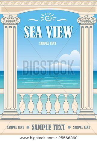 Wonderful sea view between roman columns. Vector background.