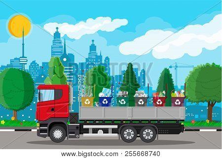 Truck Transportation Garbage. Car Waste Disposal. Can Container For Various Garbage. Waste Segregati