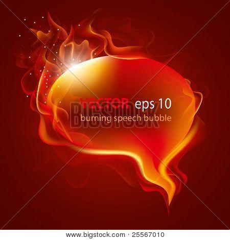 Burning speech bubble, vector illustration