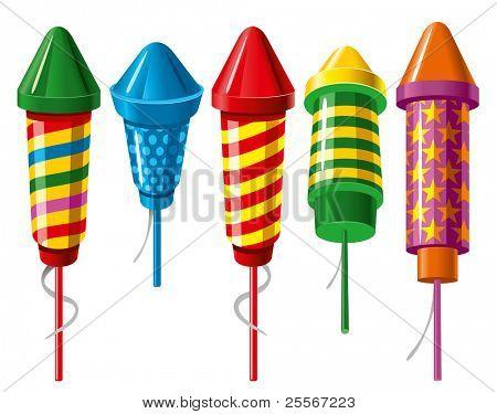 Set of firework rockets. Vector.