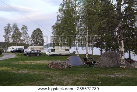 Ramvik, Sweden On May 20. View Of A Camping, Car, Caravan, Tent At Snibben Camping On May 20, 2018 I