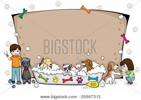 poster of A vector illustration of a pets grooming salon banner
