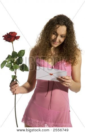 Loveletter With Red Rose