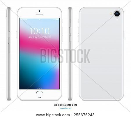 Smartphone Mockup In Silver Color With Colorful Screen Front, Back And Side On White Background. Sto