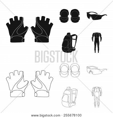 Gloves, Elbow Pads, Goggles, Cyclist Backpack.cyclist Outfit Set Collection Icons In Black, Outline