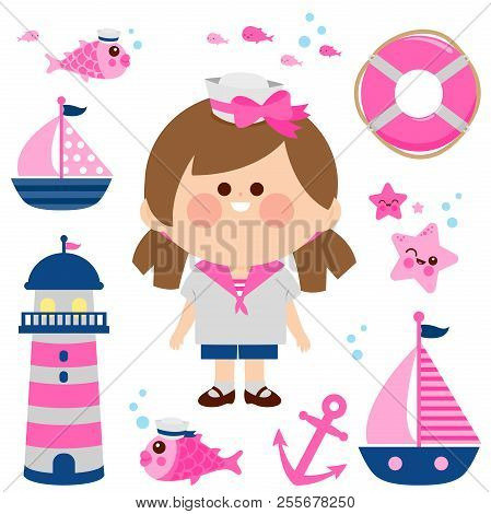 Girl Dressed In Nautical Sailor Outfit And Nautical Vector Set.