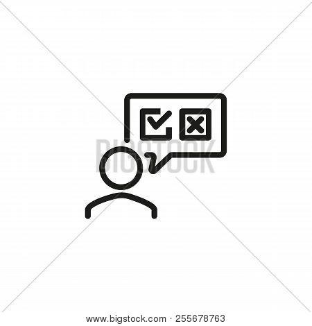 Client Giving Feedback Line Icon. Poll, Customer Service Evaluation, Voting. Survey Concept. Vector