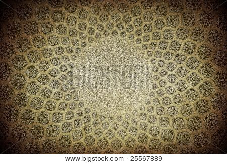 Dome of the mosque oriental ornaments from Isfahan Iran poster