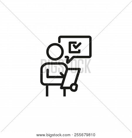 Man Putting Down Results Or Answers Line Icon. Auditor, Estimator, Client. Survey Concept. Vector Il