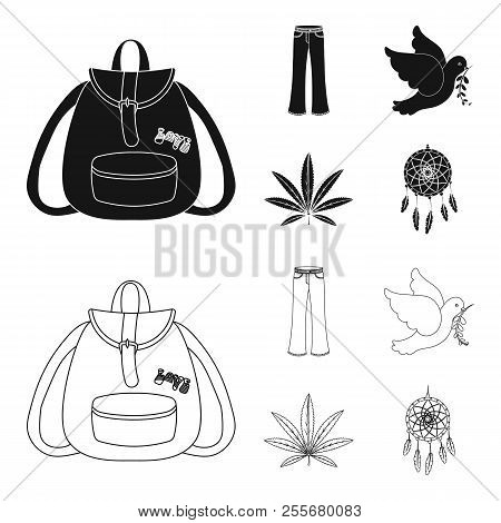 A Cannabis Leaf, A Dove, Jeans, A Backpack.hippy Set Collection Icons In Black, Outline Style Vector