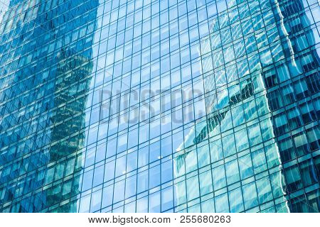 Augmented Reality For Busines Advanced Concept. Glass Skyscraper , Glass Wall Of Office Building.