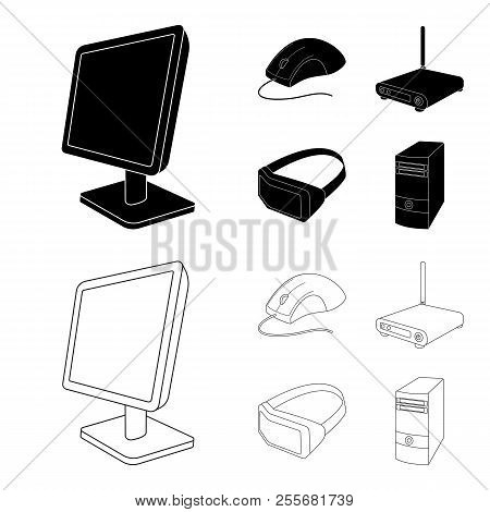 Monitor, Mouse And Other Equipment. Personal Computer Set Collection Icons In Black, Outline Style V