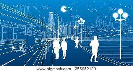 Urban Scene. Car Interchange. People Walk Along The Sidewalk. Modern Night City On Background. Vecto