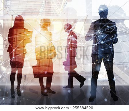 Business People Work Together In Office With Internet Network Effects. Concept Of Teamwork And Partn