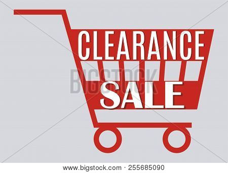 Stock Clearance Banner. Stock Clearance Cart. Vector Illustration