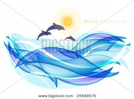 Abstracte zomer achtergrond met dolfijnen en zee
