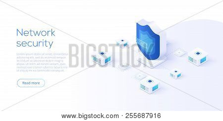 Network Data Security Isometric Vector Illustration. Online Server Protection System Concept With Da