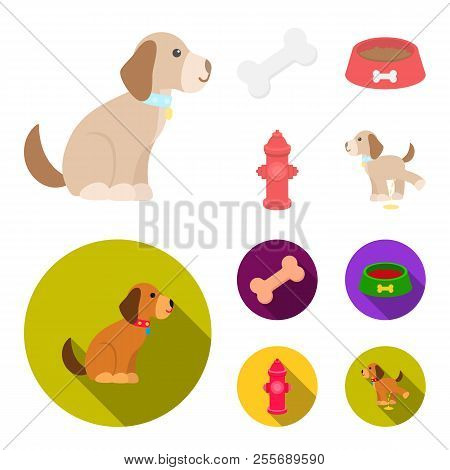 A Bone, A Fire Hydrant, A Bowl Of Food, A Pissing Dog.dog Set Collection Icons In Cartoon, Flat Styl