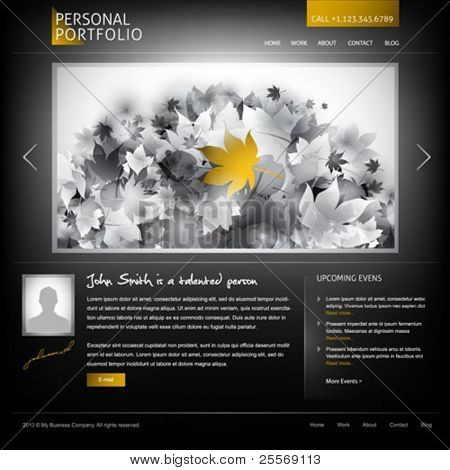 black stylish website template for personal portfolio - perfect layout for photographers and designers poster