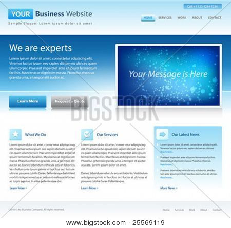 blue business website template - home page design - clean and simple - with a space for a text