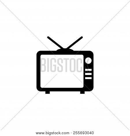 Tv, Television. Flat Vector Icon Illustration. Simple Black Symbol On White Background. Tv, Televisi