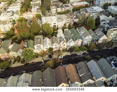 Top View Popular Victorian Residential Houses In Castro, San Francisco, California