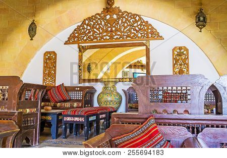 Mahdia, Tunisia - August 29, 2015: Interior Of Authentic Teahouse, Located In Historical Building An
