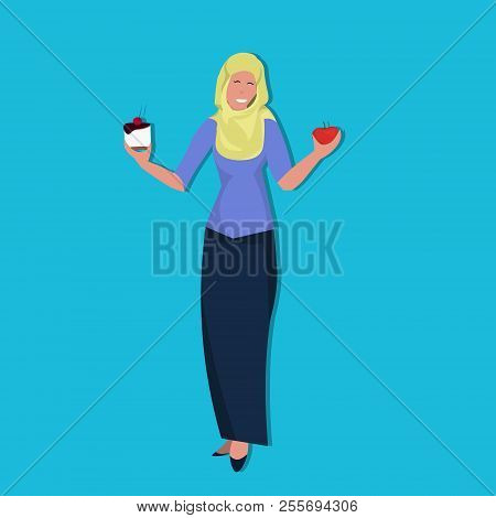 arabic woman holding cake apple resist temptation making right dietary choice weight loss diet dilemma concept arab female cartoon character flat full length poster