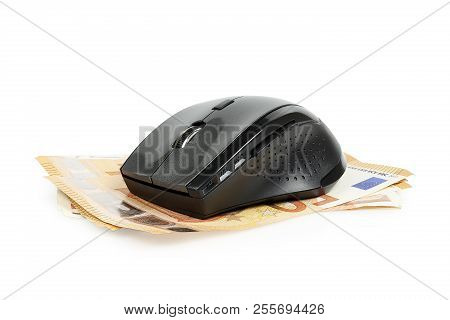 Computer Mouse On Euro Banknotes, Concept For Making Money Online