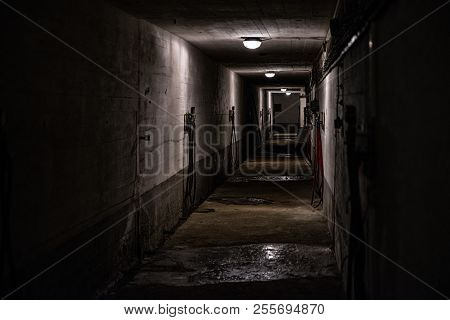 Empty Dark Tunnel. Long Corridor In Old Building