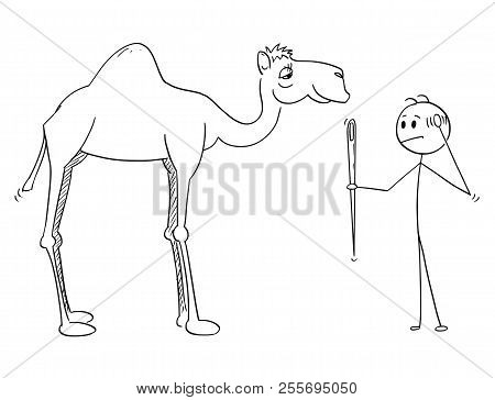 Cartoon Stick Drawing Of Man Holding A Needle And Thinking About Its Eye And Camel Going Through. Il
