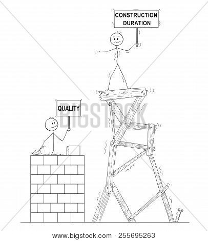 Cartoon Stick Drawing Conceptual Illustration Of Two Men Or Businessmen. One Of Them Is Slowly Build