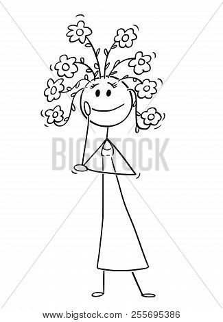 Cartoon Stick Drawing Conceptual Illustration Of Happy Woman Or Girl With Blooming Flowers Growing F