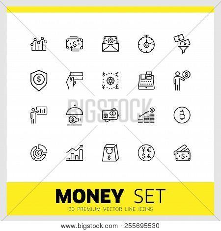 Money Icons. Set Of  Line Icons. Money Insurance, Revenue Growth, Cash. Finance Concept. Vector Illu
