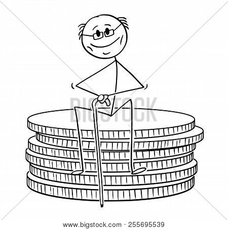 Cartoon Stick Drawing Conceptual Illustration Of Old Retired Pensioner Or Retiree Man Sitting On Sma