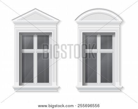 A Window In A Classic Frame With A Pediment And Trim. Element Of Architectural Decoration Of The Fac