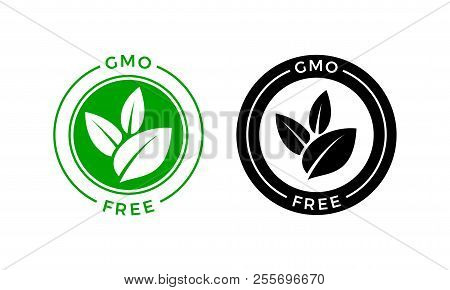 Gmo Free Icon. Vector Green Leaf Non Gmo Logo Sign For Healthy Food Package Label Design