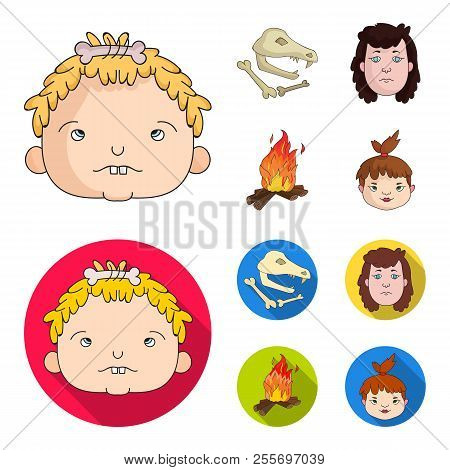 Woman, Hair, Face, Bonfire .stone Age Set Collection Icons In Cartoon, Flat Style Vector Symbol Stoc