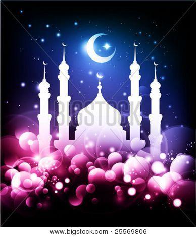 Muslim background - Ramadan night with mosque & moon