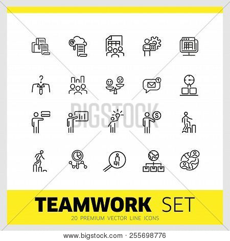 Teamwork Icons. Set Of  Line Icons. Head Hunting, Presentation, New Idea. Teamwork Concept. Vector I
