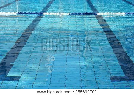Lanes Of A Competition Swimming Pool. Empty Swimming Pool With Lanes. Empty Swimming Pool With Lanes