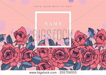 Vintage Card With Rose Flowers. Floral Wreath. Flower Frame For Wedding Invitation. Summer Floral Ro