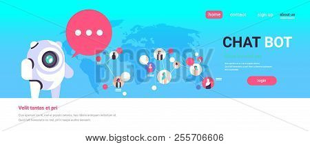 Chatbot Robot Speech Bubble Arabic People Avatar Global Communication Connection Artificial Intellig