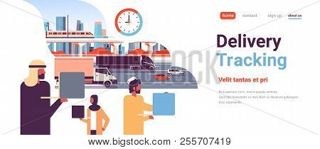 Arabic Business People Logistic Delivery Tracking Concept Arab Man Woman Using Laptop Punctuality Fa